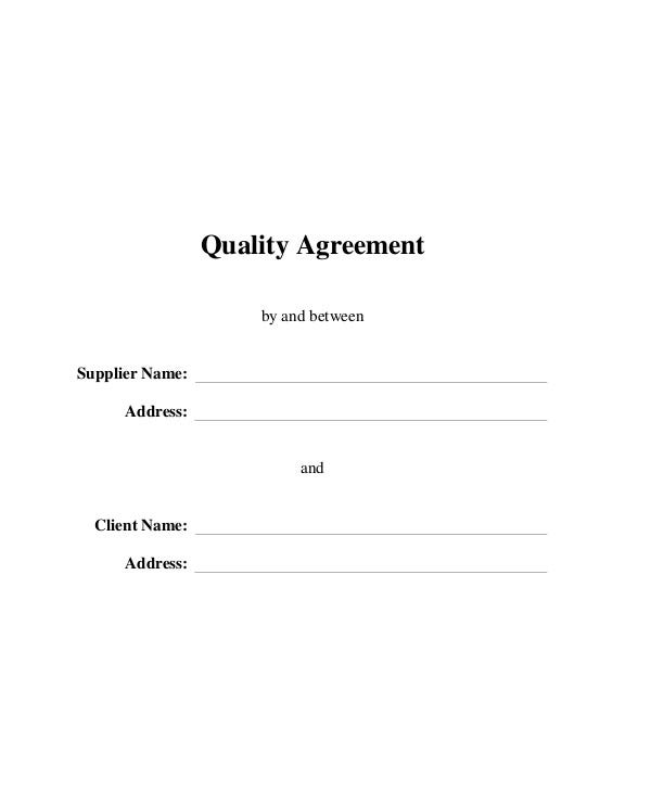 Quality Agreement between Supplier and Client
