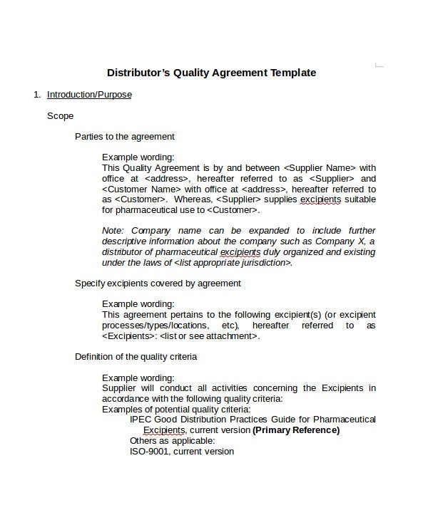 Quality Agreement in DOC