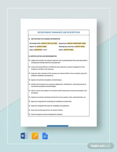 recruitment manager job description template