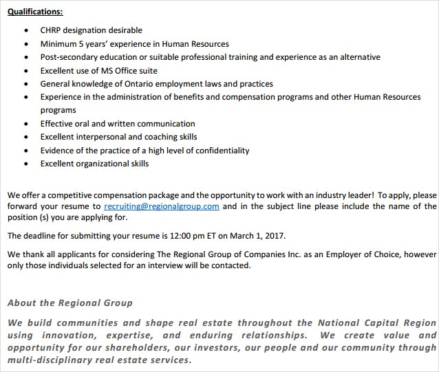 Regional HR Manager Qualification