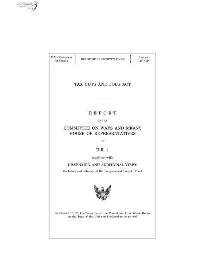 Report of the Committee on Ways