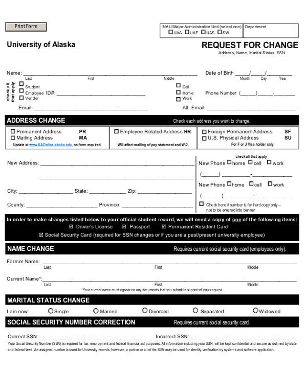 Request for Change Form