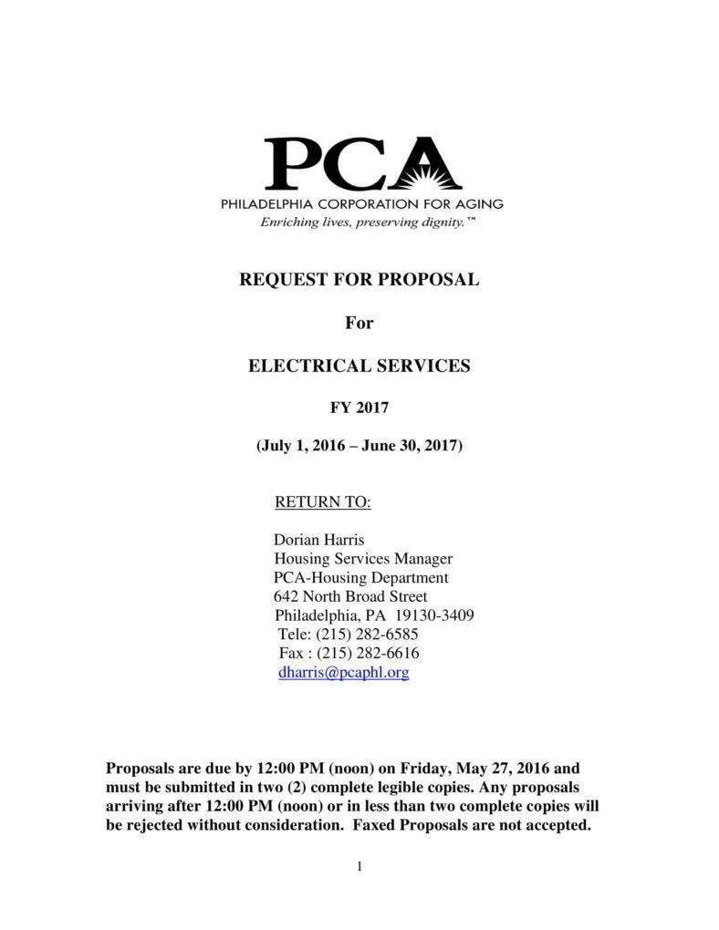 Request for Electrical Service Proposal