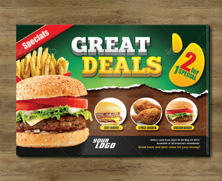 restaurant food promo card flyer template