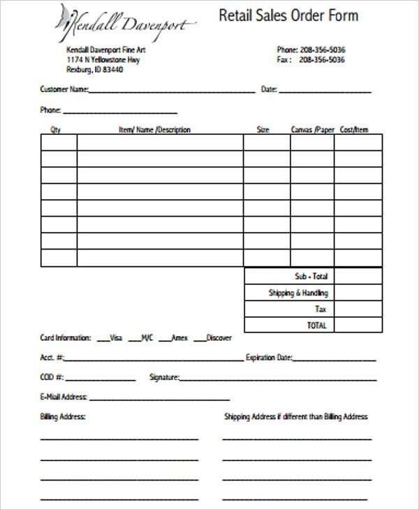 retail sales order form