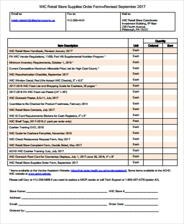 retail store supplies order form