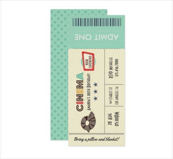 Retro Movie Ticket Birthday Party Invitation
