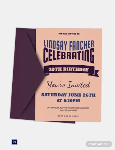 retro style birthday invitation template