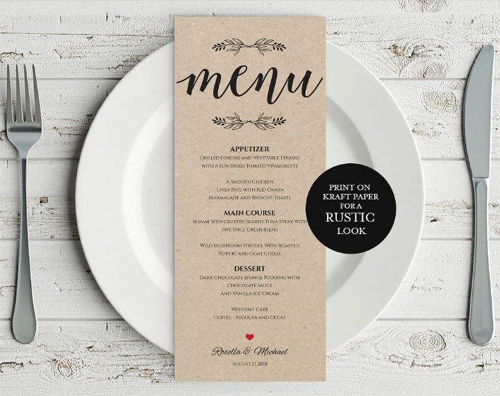 rustic reception menu card psd template