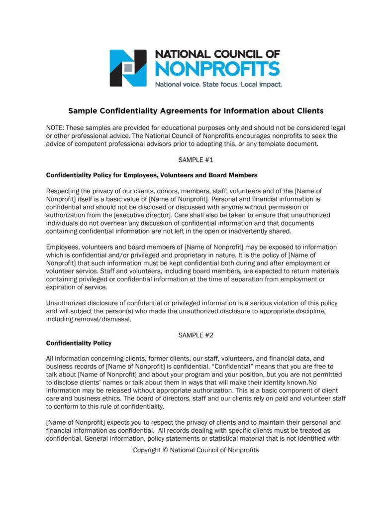 sample confidentiality agreement 788x1020