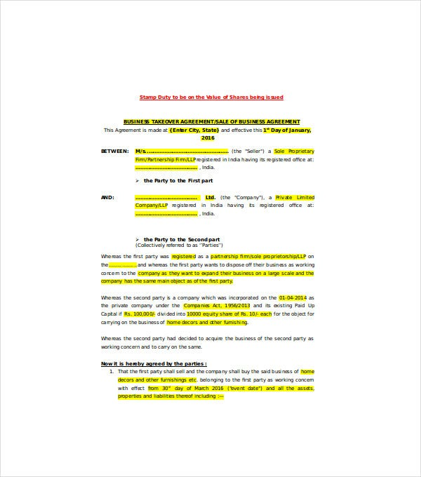 sale agreement of business as a working concern
