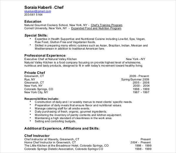 sample chef training resume