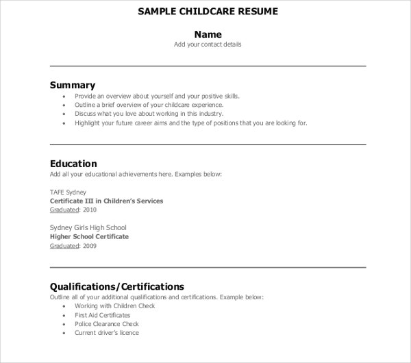 sample children resume