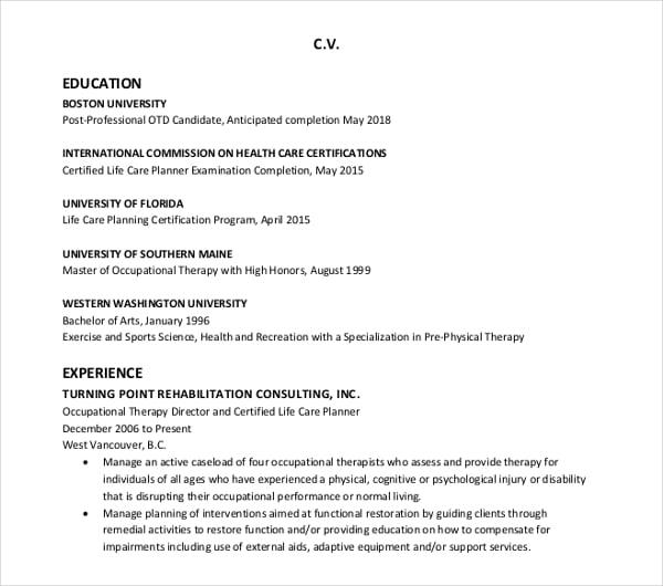 sample education cv