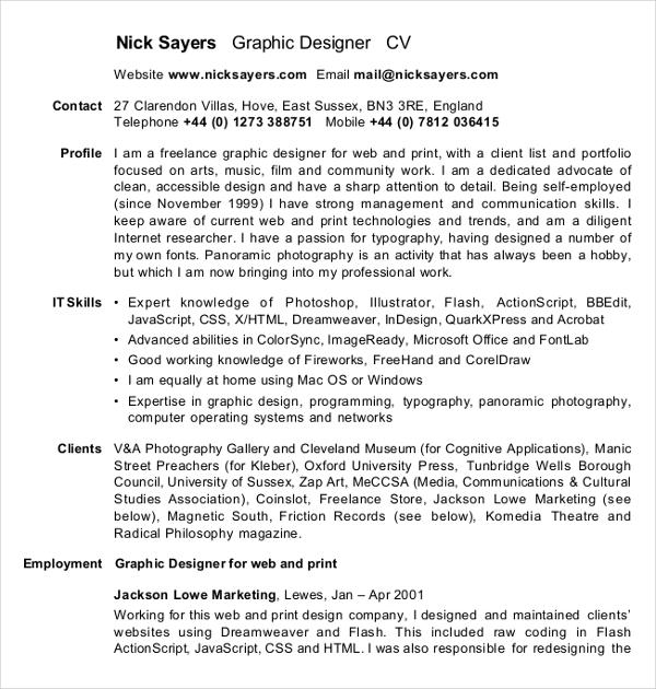 7  graphic curriculum vitae templates