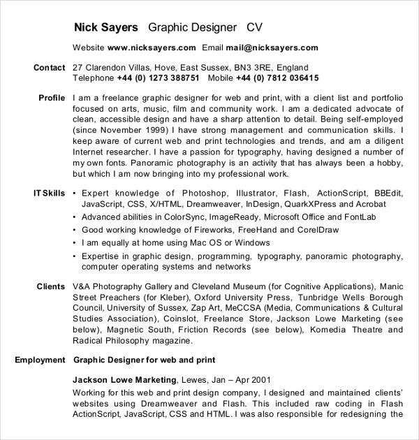 sample graphic designer cv