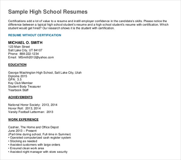sample high school resume template
