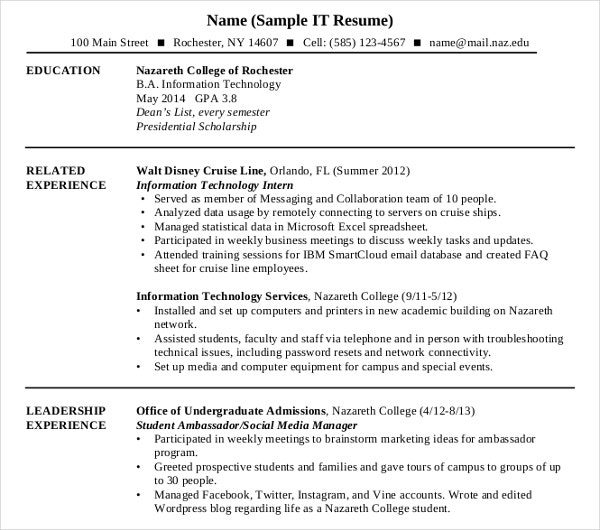 sample it resume