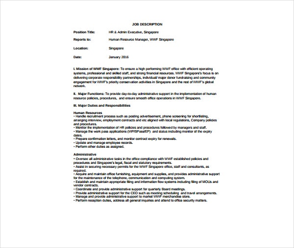 Sample Job Description for Human Resource