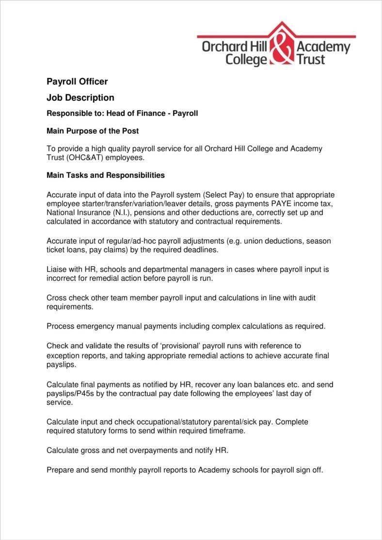 3 payroll officer job description templates pdf free premium