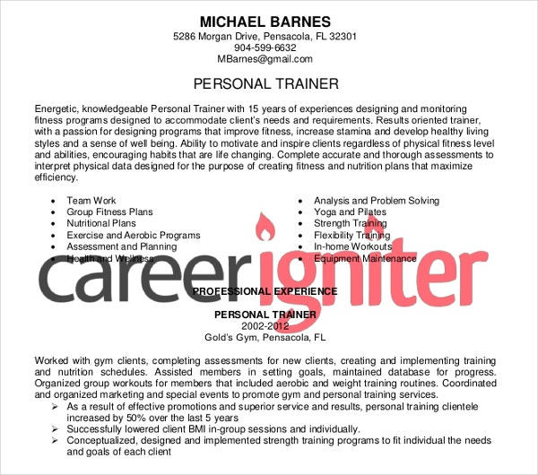 personal trainer resume templates free for download 8 personal