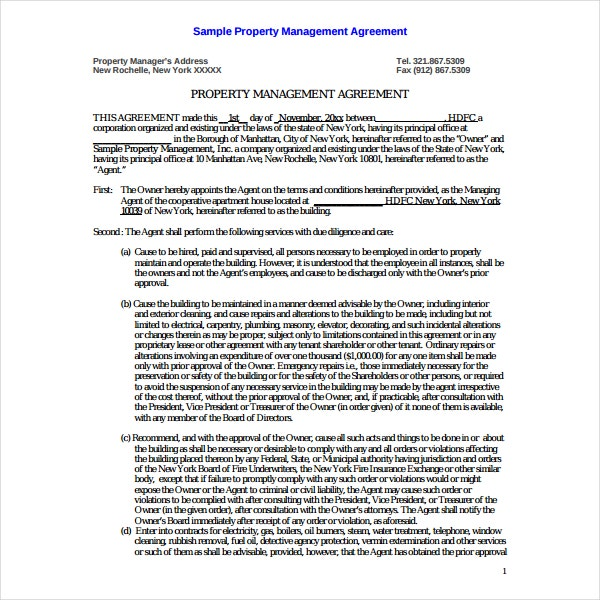 Sample Property Management Agreement