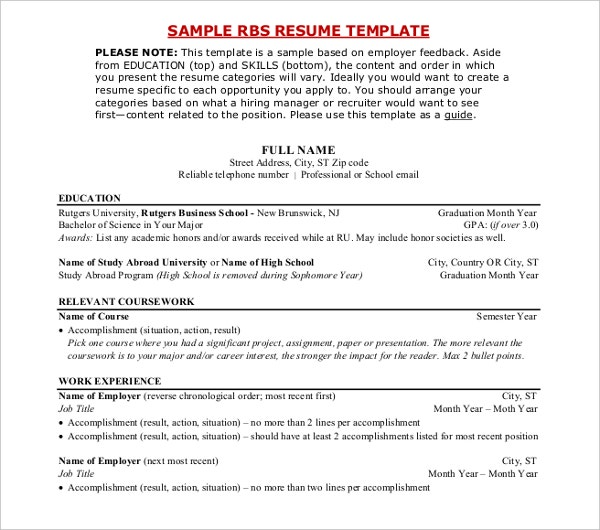 sample rbs resume template