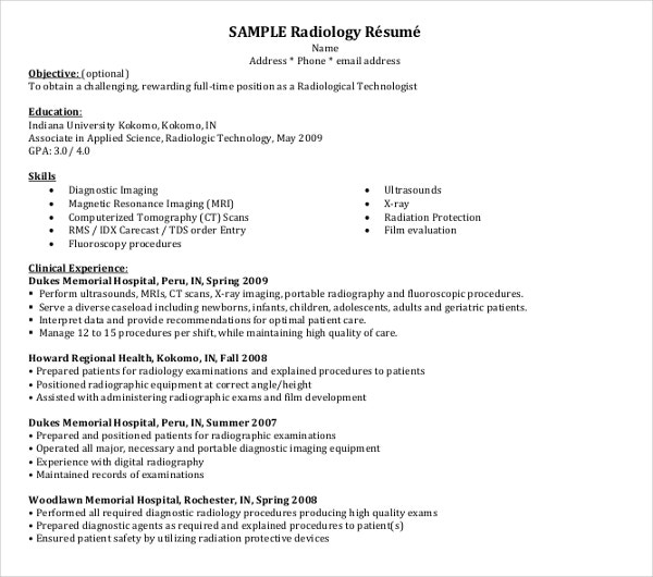 sample radiologist resume
