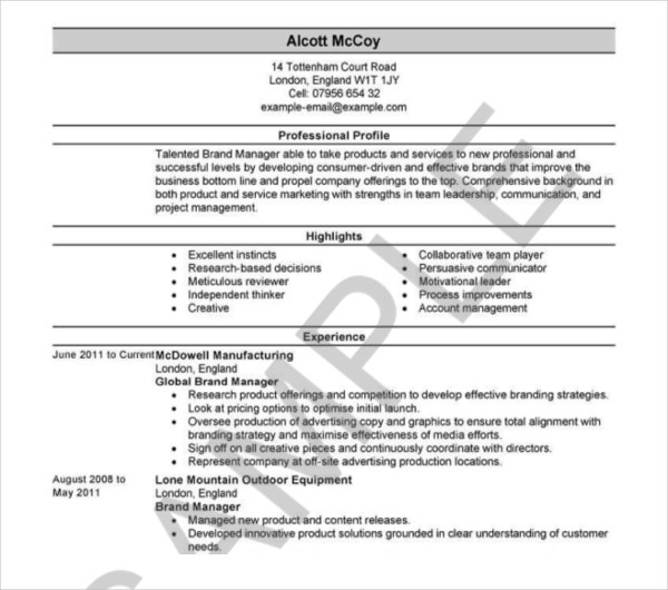 sample retail property resume