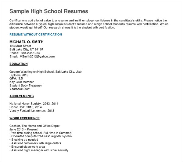 sample simple high school resume template