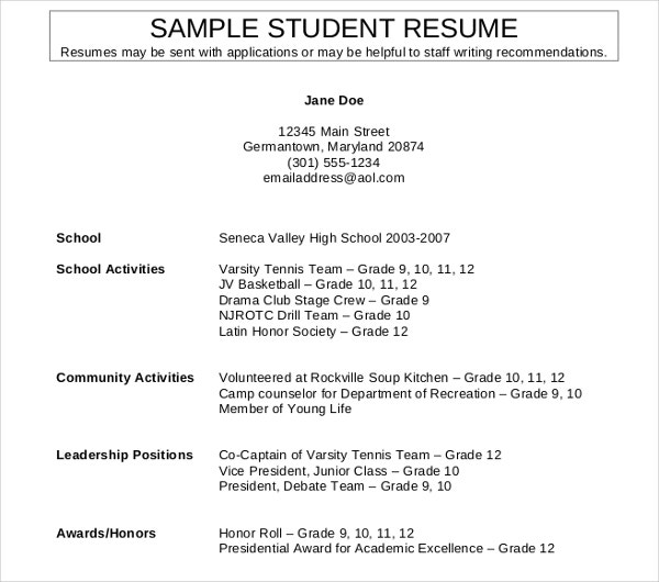 11  high school student resume templates