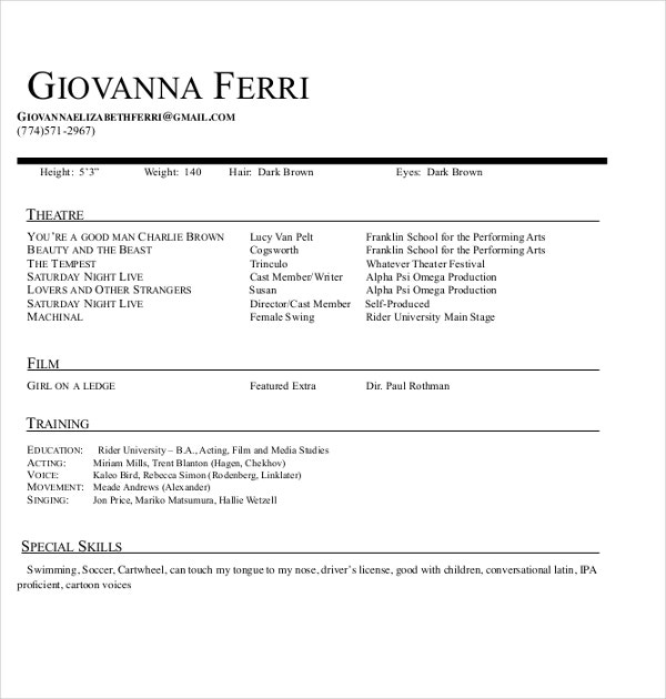 sample theater resume template