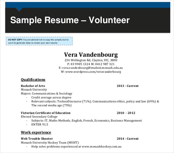Sample Volunteer Experience Resume