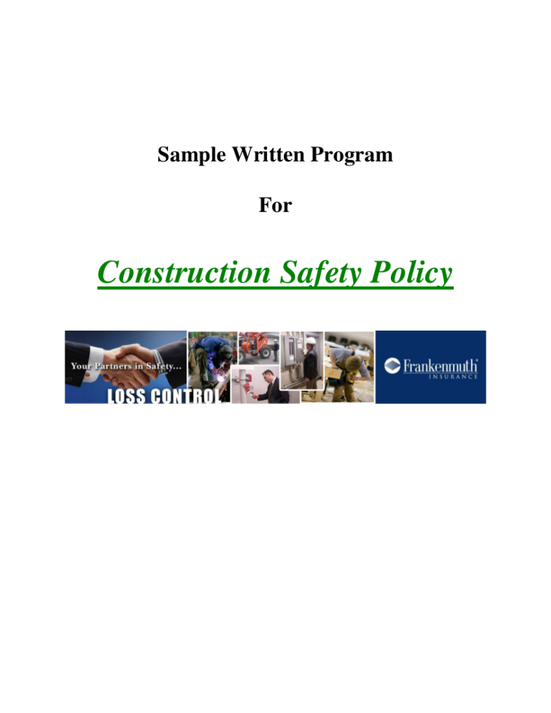 Sample Written Program for Construction Safety Policy