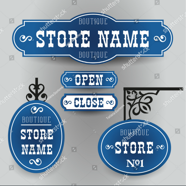 sapphire-blue-vintage-outdoor-name-board-vector-template