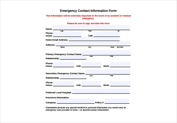 School Emergency Contact Form  Contact Information Form Template