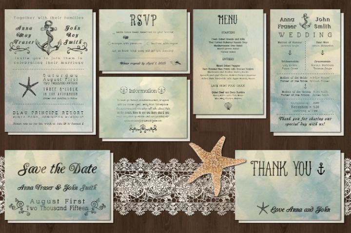 seashell printable wedding invitation template set