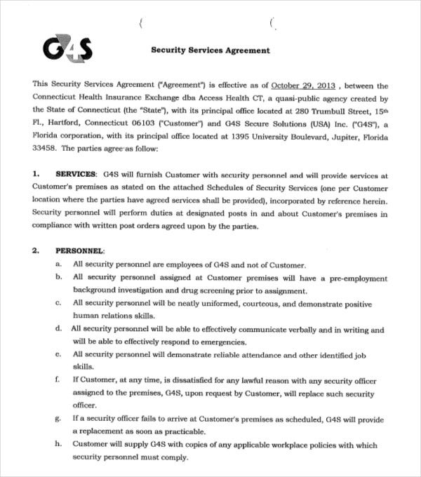 security services agreement example