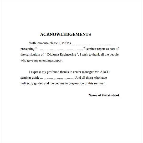 Seminar Acknowledgment Report