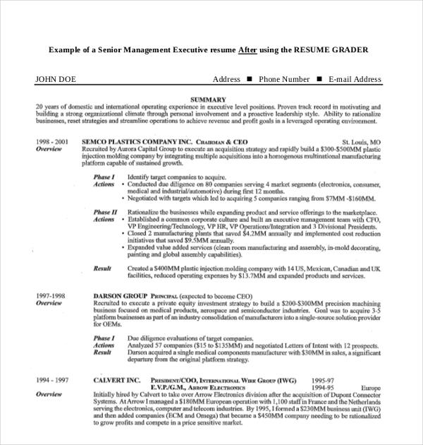 senior management executive resume