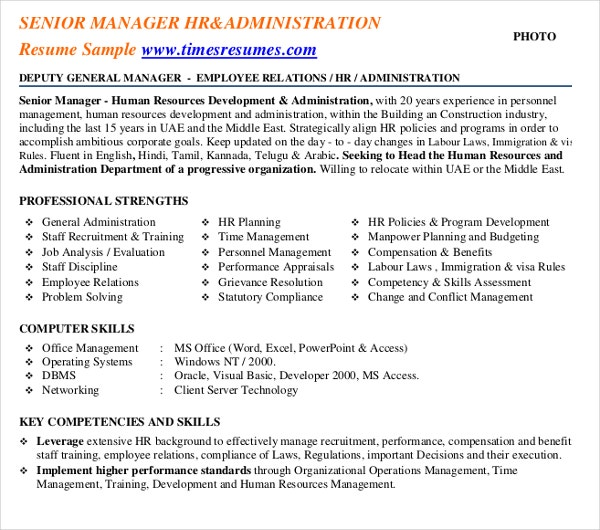senior manager administration resume template