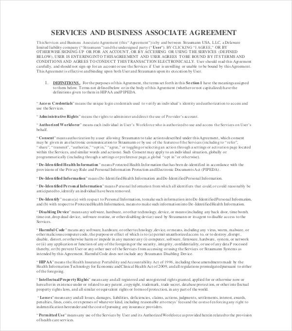 services and business associate agreement