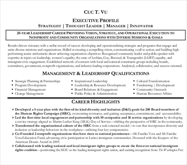simple executive resume