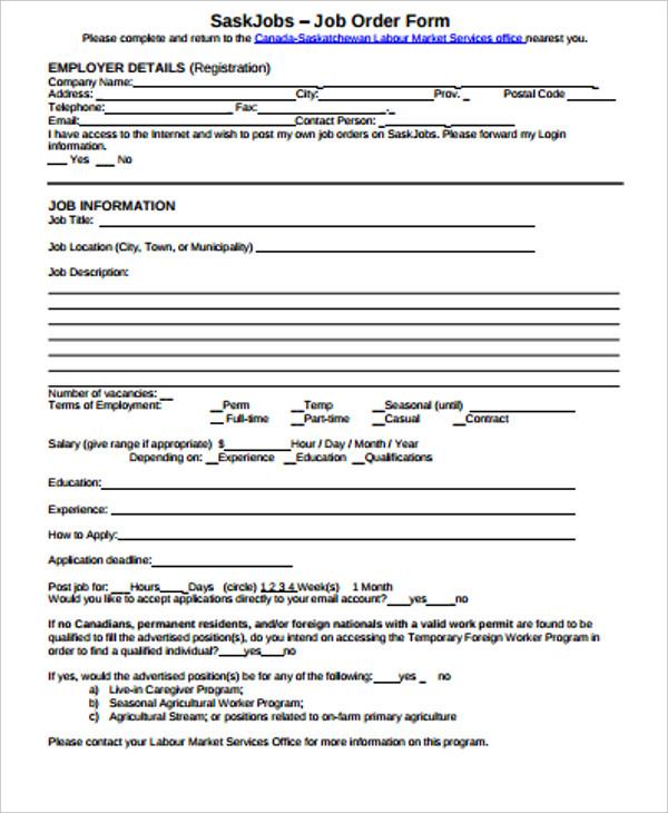 simple job order form