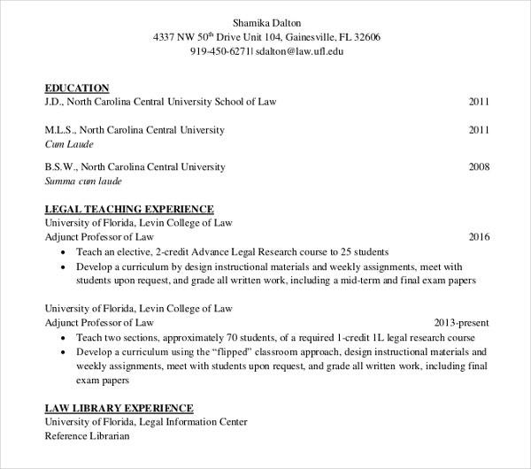 simple law cv template