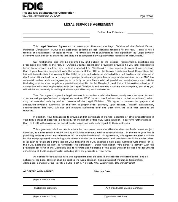 simple legal services agreement