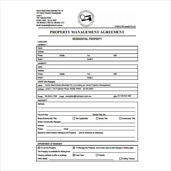 Property Management Agreement Templates  Pdf  Free  Premium