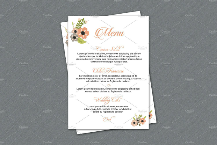 simple reception menu template