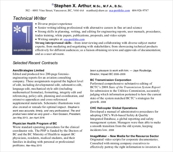 simple technical writer resume template - Technical Writer Resume