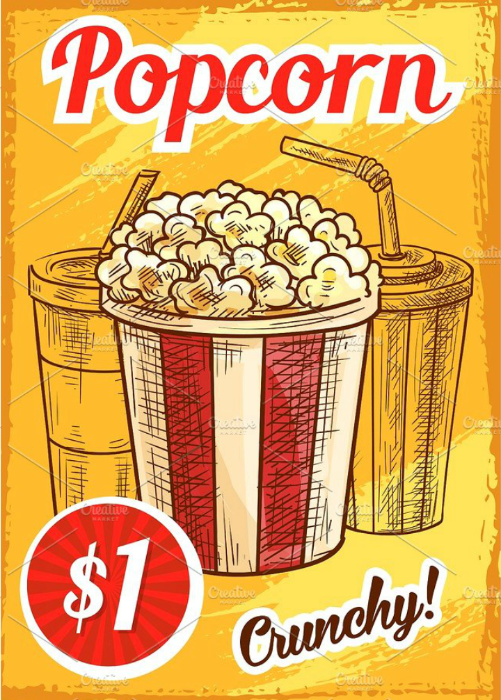 sketch popcorn menu vector template